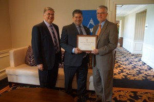 Pictured (left to right) with the Achievements in Planning Award for LourdesCare at Cherry Hill:  Joseph D. Gonnelli, principal, Rosewood Real Estate Enterprises; Jason L. Kasler, AICP, PP, executive director, New Jersey Planning Officials; and Paul Stridick, AIA, director of Community Development, Cherry Hill Township.